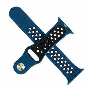 Ремешок для часов , с перфорацией, 38 мм, l=23 см, сине-черный, силикон