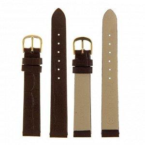 Ремешок для часов, женский, 14 мм, натуральная кожа, фактура крокодил, темно-коричневый