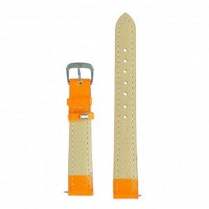 Ремешок для часов, 14 мм, женский, натуральная кожа, l=18 см, оранжевый
