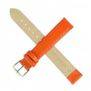 Ремешок для часов, 16 мм, женский, натуральная кожа, l=20 см, оранжевый