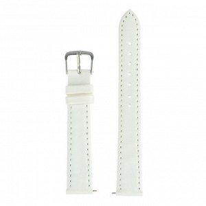 Ремешок для часов, 16 мм, женский, натуральная кожа, l=20 см, белый