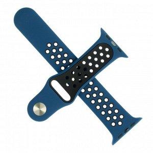 Ремешок для часов , с перфорацией, 42 мм, l=23 см, сине-черный, силикон