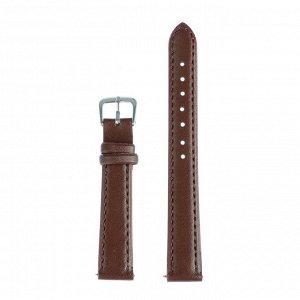 Ремешок для часов, 14  мм, женский, натуральная кожа, l=18 см, коричневый