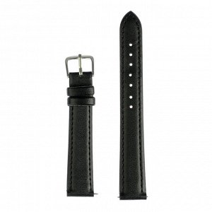 Ремешок для часов, 16 мм, женский, натуральная кожа, l=20 см, черный