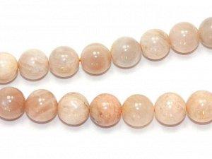Бусина Лунный камень Селенит Персиковый. 8 мм