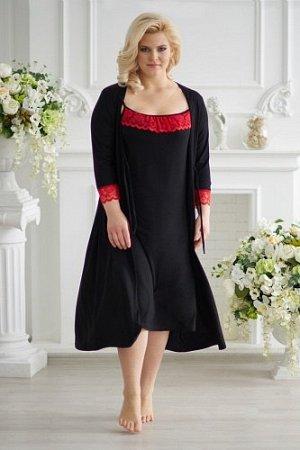 Комплект (сорочка + халат), арт. 0075 черный
