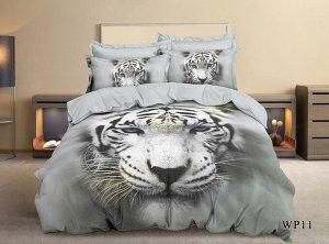 Постельное белье - Сатин Белый тигр 2-спальный с Евро простыней (молния)