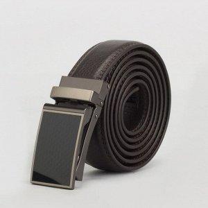Ремень мужской, 2 строчки, пряжка зажим металл, ширина - 3 см, цвет кофе 3722416
