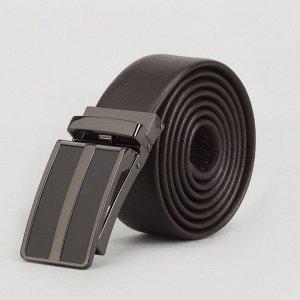 Ремень мужской, пряжка зажим тёмный металл, ширина - 3,5 см, цвет кофе 3722427