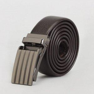 Ремень мужской, гладкий, пряжка зажим металл, ширина - 3 см, цвет кофе 3722415