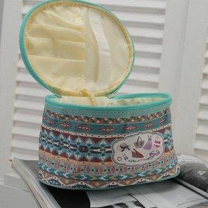 Косметичка-сундучок, отдел на молнии, зеркало, цвет бирюзовый