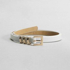 Ремень женский, гладкий, пряжка и хомут золото, ширина - 1,5 см, цвет белый 2327125