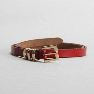 Ремень женский, гладкий, пряжка и хомут золото, ширина - 1,5 см, цвет красный 2327127