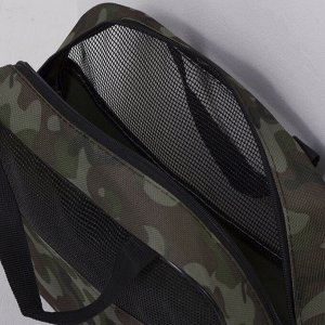 Косметичка-сумочка, отдел на молнии, сетка, цвет зелёный/коричневый
