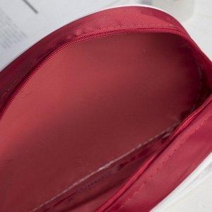 Косметичка ПВХ, отдел на молнии, с ручкой, цвет красный