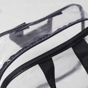 Косметичка ПВХ, отдел на молнии, 2 ручки, цвет чёрный