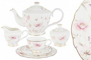 Чайный сервиз Розовый танец, 6 персон, 21 предмет