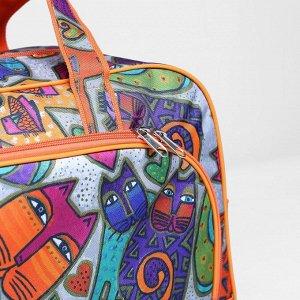 Сумка дорожная, отдел на молнии, 2 наружных кармана, длинный ремень, цвет разноцветный