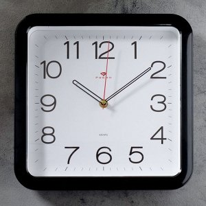 """Часы настенные """"Классика"""". квадратные с закруглёнными углами. 30 ? 30 см. чёрные"""