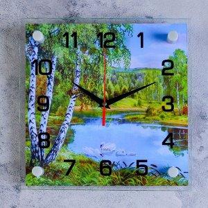 """Часы настенные. серия: Природа. """"Озеро"""". стекло. 25х25  см. микс"""