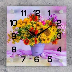 """Часы настенные. серия: Цветы. """"Полевой букет"""". 25х25  см. микс"""