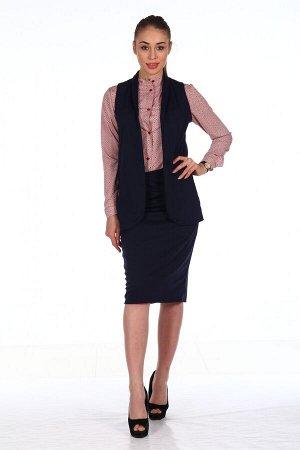 Костюм Состав - Милано (65% вискоза,30% пэ,5% лайкра). Классический костюм, состоящий из удлиненного приталенного жилета с отложным воротником шалькойи юбки карандаш, с небольшой шлицей по заднему ш