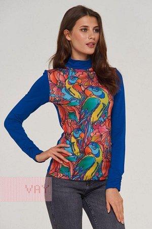 Блузка женская. Цвет: 30-0015/39 т.василек/джунгли