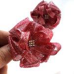 Детский бантик Малинка серебристо-красный