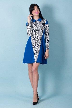 Платье П 504 (васильковый+кружево)