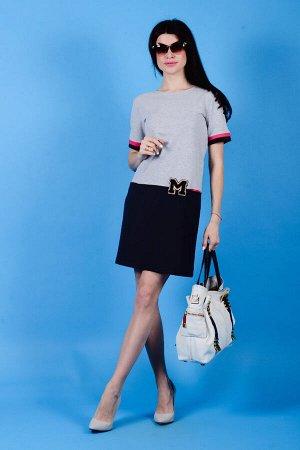 Платье П 502 (серый+темно-синий)