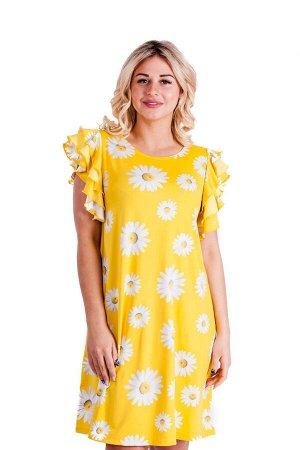 Платье П 548/1 (желтый+принт ромашки)