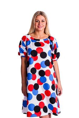 Платье П 602/1 (принт васильковые шары)