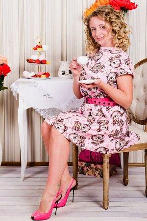 Платье П 601 (розовый с мишкой)