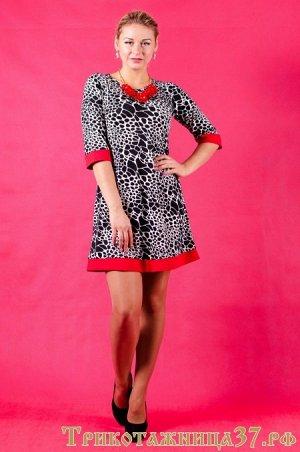 Платье П 154 (леопард крупный+красный)
