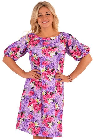 Платье П 602/2 (розы на сиреневом)