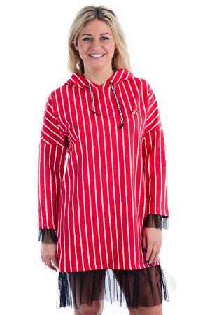 Платье П 675 (полоса на красном)