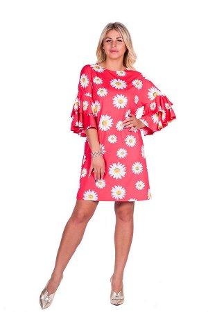 Платье П 529/1 (розовый+принт ромашки)