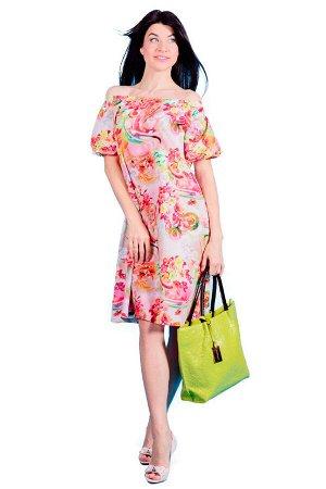 Платье П 550 (розовый с принтом)