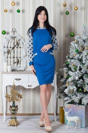 Платье П 423 (горох+василек)