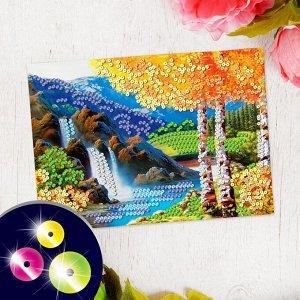 Аппликация пайетками с клеевым слоем «Осенний пейзаж», 30?45 см