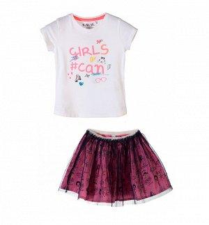 Комплект (футболка, юбка) для девочек