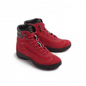 Ботинки зимние женские, красный нубук