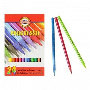 Карандаши художественные 24 цвета, Koh-I-Noor PROGRESSO 8758, цветные, цельнографитные, в картонной коробке