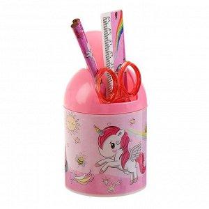 Набор настольный детский «Единорог» (подставка + 2 карандаша + линейка + точилка + ластик+ блокнот 8 листов + ножницы)