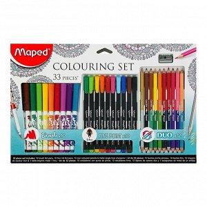 Набор для рисования Maped Color Peps 33 предмета: фломастеры, ручка капилярная, карандаши цветные двусторонние, точилка
