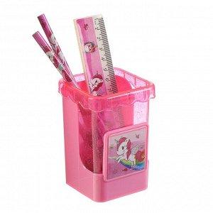 Набор настольный детский «Единорог» (подставка + 2 карандаша + линейка + точилка + ластик + блокнот 8 листов)