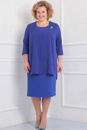 Синий Примечание: замеры длин соответствуют размеру 60, рост 170 см. Длина платья: 107 см. Длина накидки спереди: 87 см. Длина накидки сзади: 89 см. Длина рукава платья: 30 см. Длина рукава накидки: 4