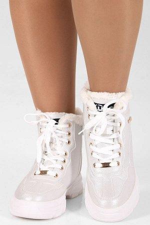 Белый Высота каблука: 3,5 см. Высота голенища: 13 см. Полнота: средняя. Декор: металлическое украшение. Застежка: шнурки. Утеплитель: искусственный мех. Материал верха: экокожа. Материал подошвы: рези