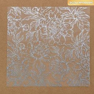Ацетатный лист с фольгированием «Серебряные пионы», 20 ? 20 см