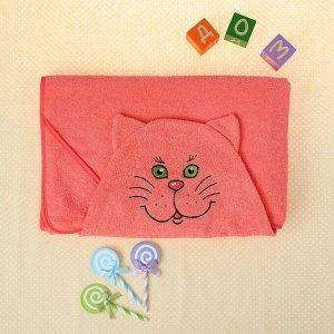 Полотенце-накидка махровое котик, 75?125 см, персик, Хл, 300 г/м?